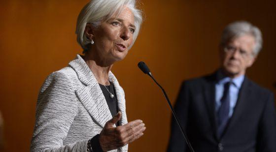 En primer plano, la directora del FMI, Christine Lagarde.