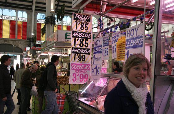 Precios de los alimentos en el mercado central de Valencia.