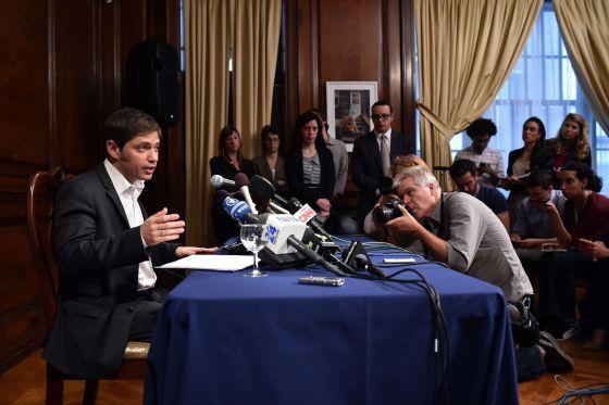 El ministro de Economía, Axel Kicillof, en  la conferencia de prensa