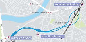 Mapa del trazado que deberá construir Ferrovial y Laing O'Rourke.