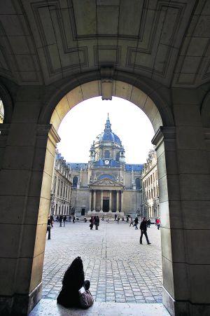 Un rincón de la universidad de la Sorbona, en París.