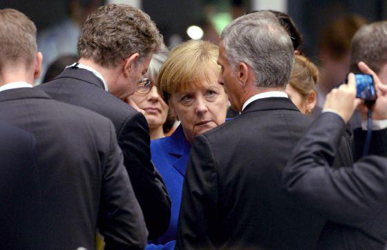 La canciller alemana, Angela Merkel, ayer durante la cumbre Europa-Asia
