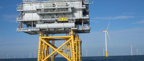 Plataforma del parque eólico marino West of Duddon Sands, construido y gestionado por Iberdrola.