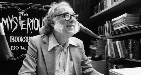 Isaac Asimov en la librería Mysterious Book Store de Nueva York en 1984.