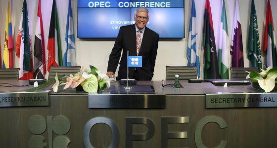 El secretario general de la OPEP, Abdalá el Badri, en Viena tras la reunión.