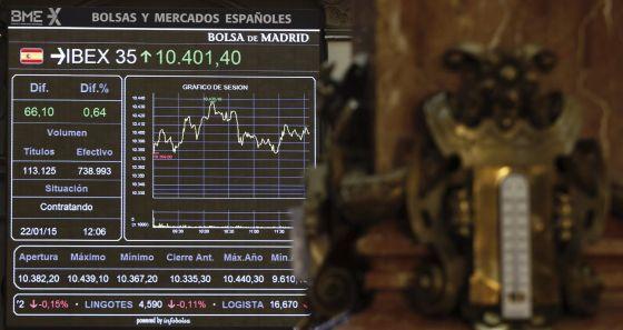 Vista del panel principal de la Bolsa de Madrid.