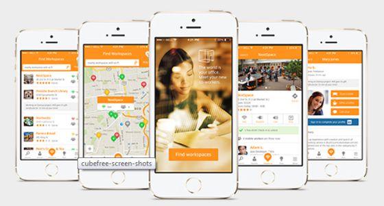 La app Cubefree permite localizar espacios con wifi para trabajar.