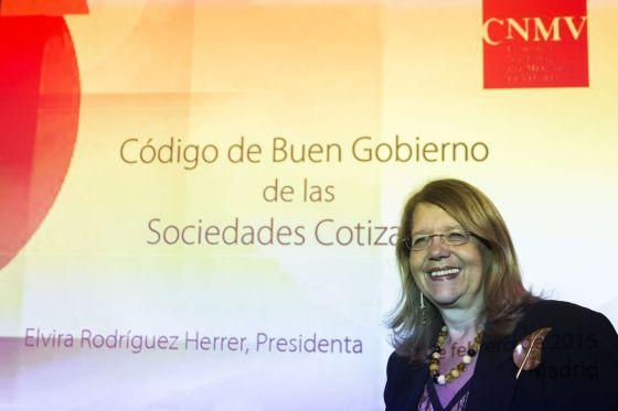 Elvira Rodríguez, presidenta de la CNMV, este martes.