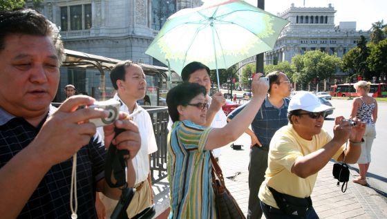 Un grupo de turistas asiáticos, en Madrid.