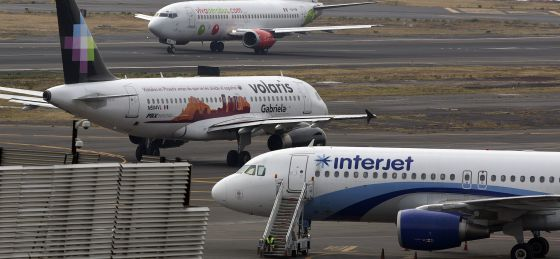 Aviones de Interjet, Volaris y VivaAerobus.