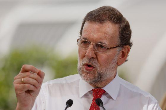 El presidente del Gobierno, Mariano Rajoy, durante un acto electoral de esta semana.