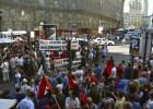 Los trabajadores de Indra protestan en Madrid contra los despidos