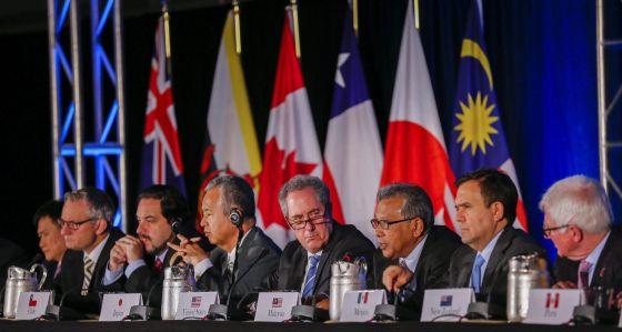 Representantes de los países del acuerdo comercial del Pacífico, el pasado lunes en Atlanta (EE UU).