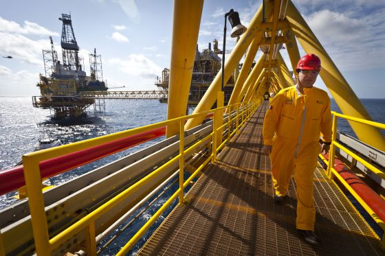 Una plataforma petrolífera de Pemex en el Golfo de México.