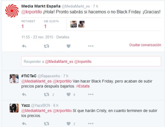 Twitter de Media Markt por el Black Friday 2015