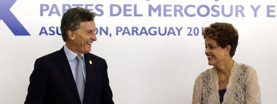 El presidente de Argentina, Mauricio Macri, y la presidenta brasileña Dilma Rousseff, durante la última reunión de Mercosur.