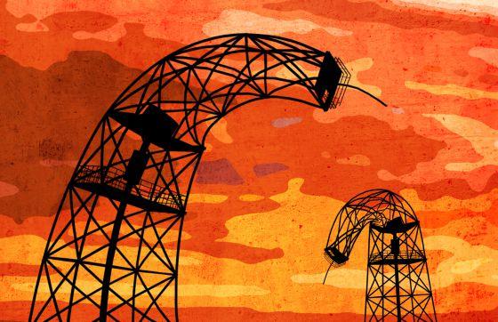 Ilustración con plataformas de extracción de petróleo