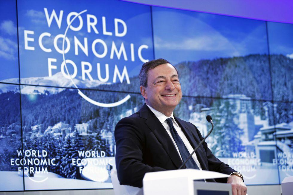 El presidente del BCE, Mario Draghi, este viernes en Davos (Suiza).