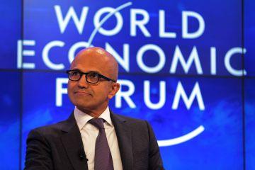 Satya Nadella, primer ejecutivo de Microsoft, el miércoles en Davos.