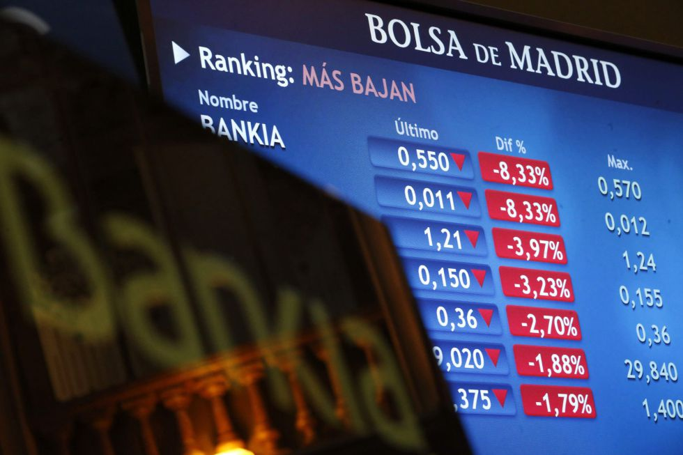 Monitor en la Bolsa de Madrid con la cotización de Bankia. EFEArchivo