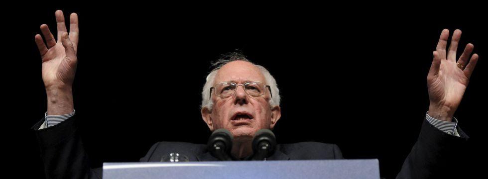 El candidato a las primarias demócratas Bernie Sanders en un mitin en Iowa.