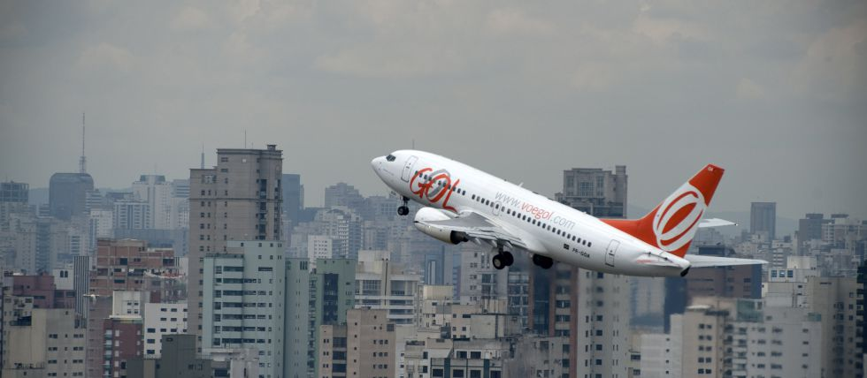 Un avión de Gol despega en Sao Paulo.