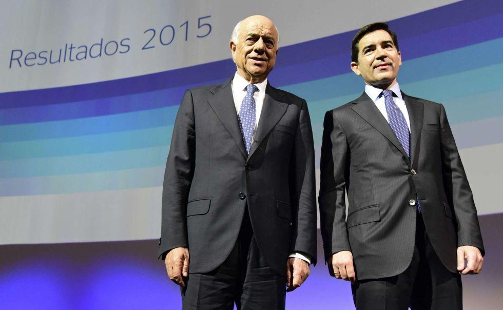 Francisco González y Carlos Torres, presidente y consejero delegado de BBVA, el pasado miércoles en Madrid.