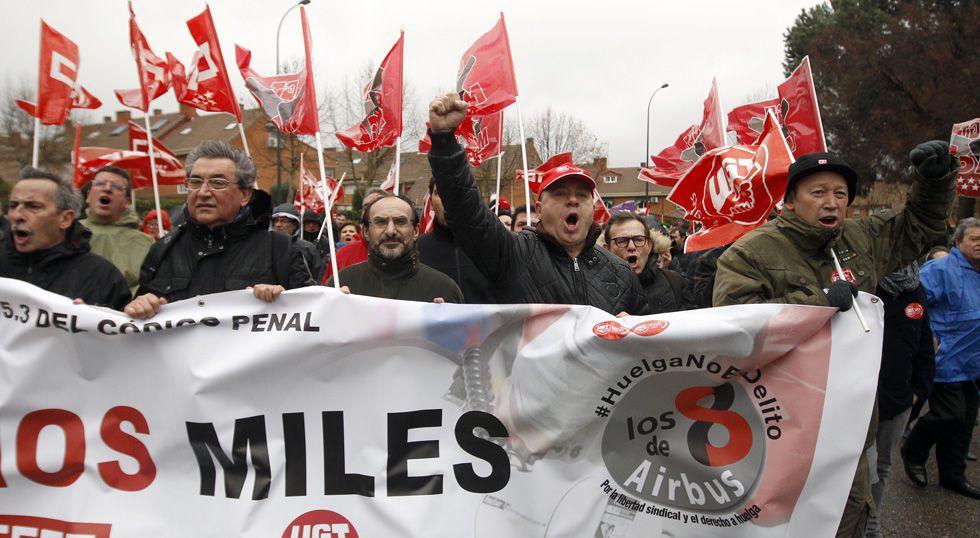 Manifestación en apoyo de los 'ocho de Airbus' en Getafe.