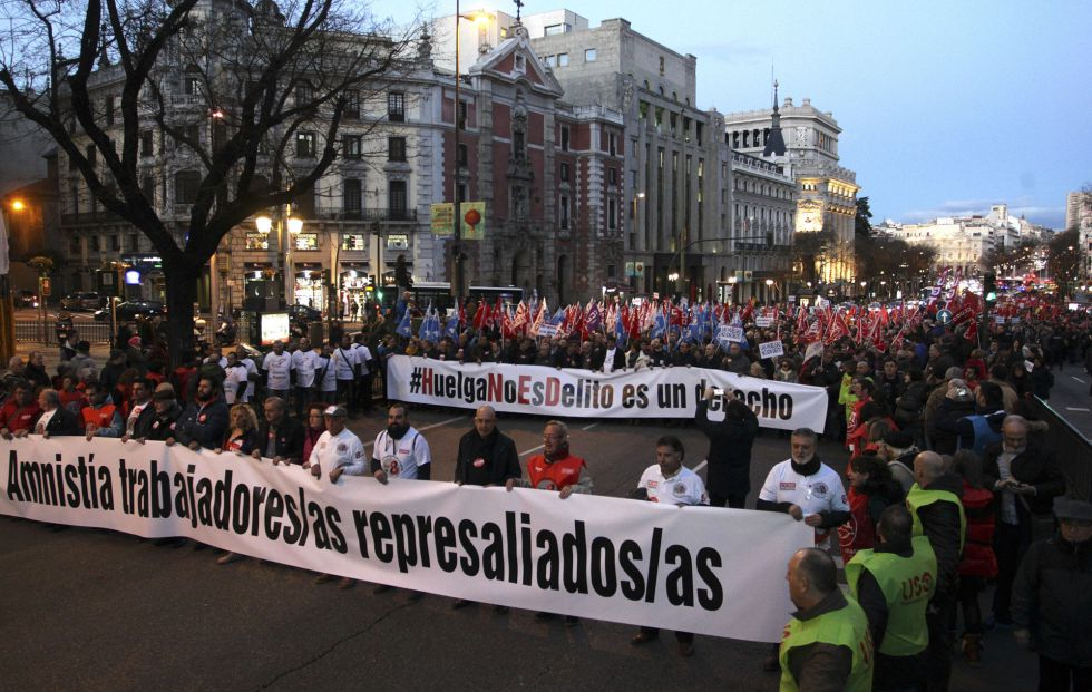Manifestación por el derecho a la huelga en Madrid