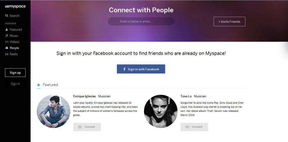 Imagen de la red social MySpace