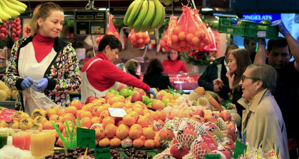 Frutería del Mercado de la Boquería de Barcelona.