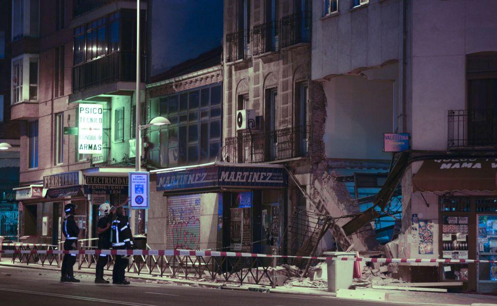 Derrumbe de una parte de un edificio en Madrid.
