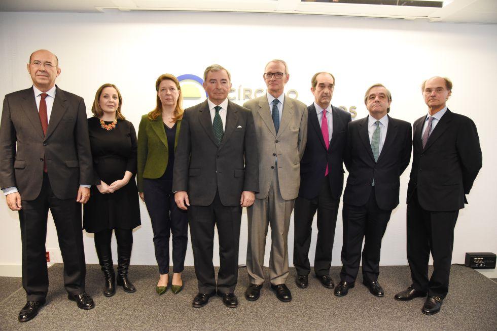 Los representantes de las ocho asociaciones firmantes de la declaración, este martes en Madrid.