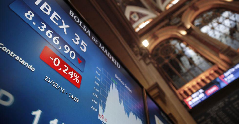 Panel informativo del Ibex 35 en la Bolsa de Madrid el pasado martes.