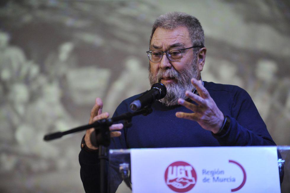 El secretario general de UGT, Cándido Méndez, en un acto en la región de Murcia