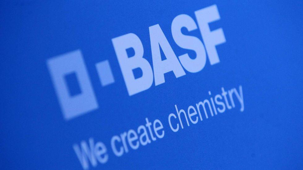 Logo de la empresa química alemana Basf.