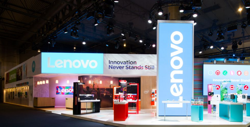 Stand de Lenovo en el Mobile World Congress de Barcelona.