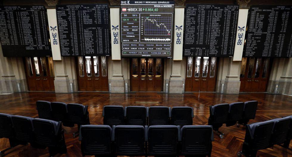 Paneles informativos en la Bolsa española