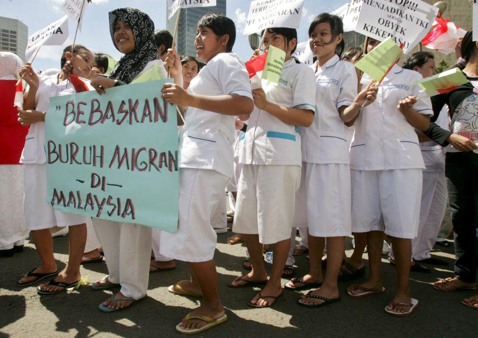 Manifestación de trabajadoras domésticas en Malasia