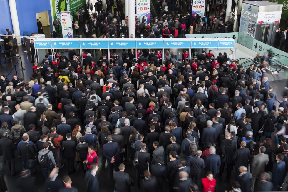 Entrada al Mobile World Congress de 2016 celebrado en Barcelona.