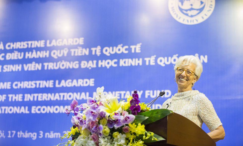 La directora gerente del FMI, Christine Lagarde, este jueves en Vietnam.