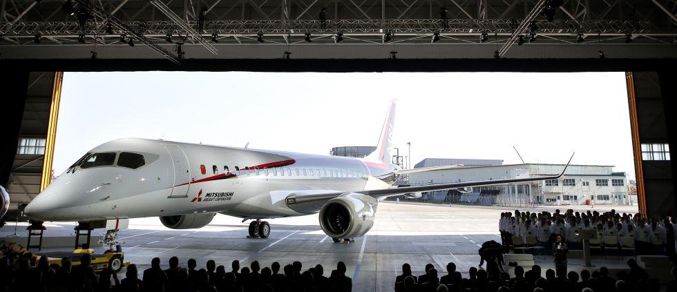 Presentación del prototipo de jet de Mitsubishi en octubre de 2014