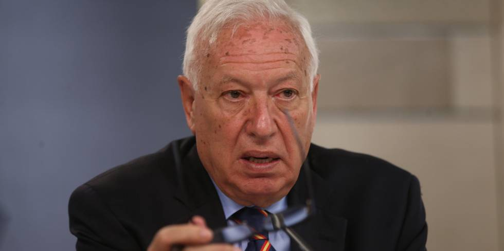 Jose Manuel Garcia-Margallo, ministro de Exteriores, durante una conferencia de prensa el pasado viernes.