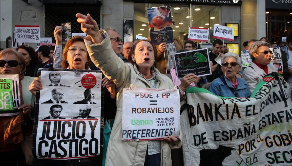 Protesta de preferentistas de Bankia en Madrid.