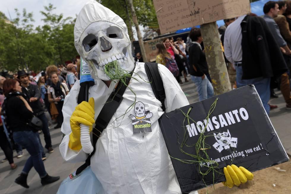 Manifestación contra Monsanto en París el sábado pasado