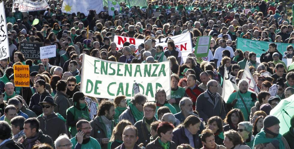 Una manifestación de la 'marea verde' en Madrid.
