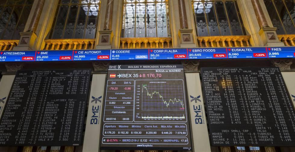Panel informativo de la Bolsa española que muestra el IBEX 35 en una jornada.