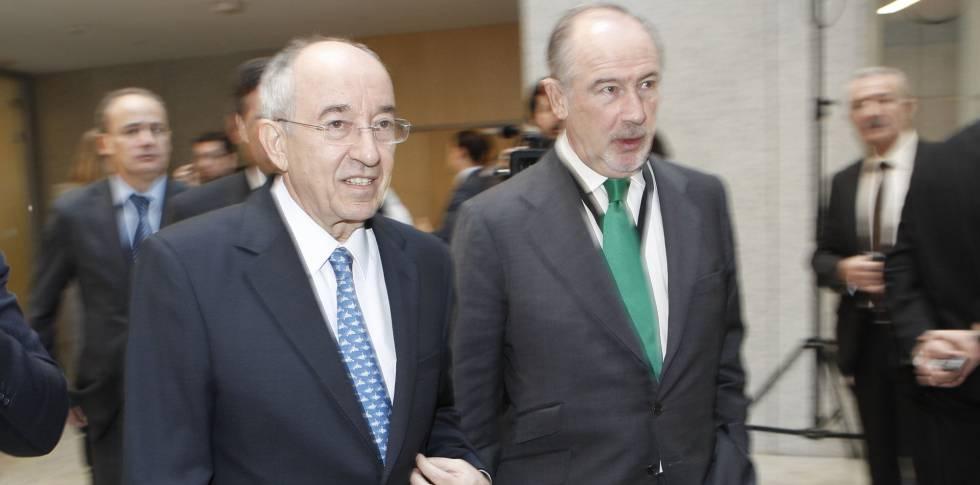 El exgobernador del Banco de España, Miguel Ángel Fernández Ordóñez, con el expresidente de Bankia, Rodrigo Rato.