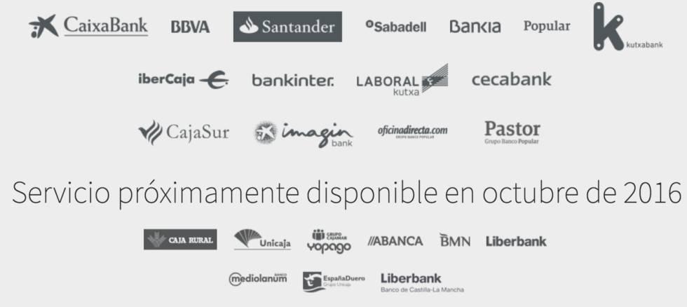 Bancos que disponen del servicio Bizum.