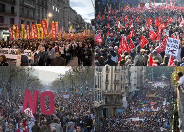 Las grandes protestas convocadas por los sindicatos desde el inicio de la crisis